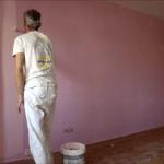 Aplicando Esmalte color Malva en piso de Algete 3