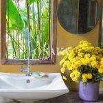 osaka pintura decorativa efecto microcemento color esencia tierra amarillo beige tropical bano